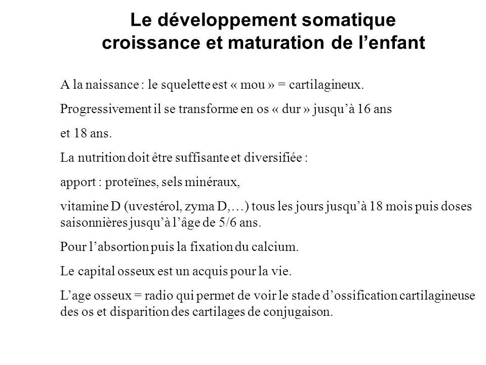 Le développement somatique croissance et maturation de lenfant A la naissance : le squelette est « mou » = cartilagineux. Progressivement il se transf