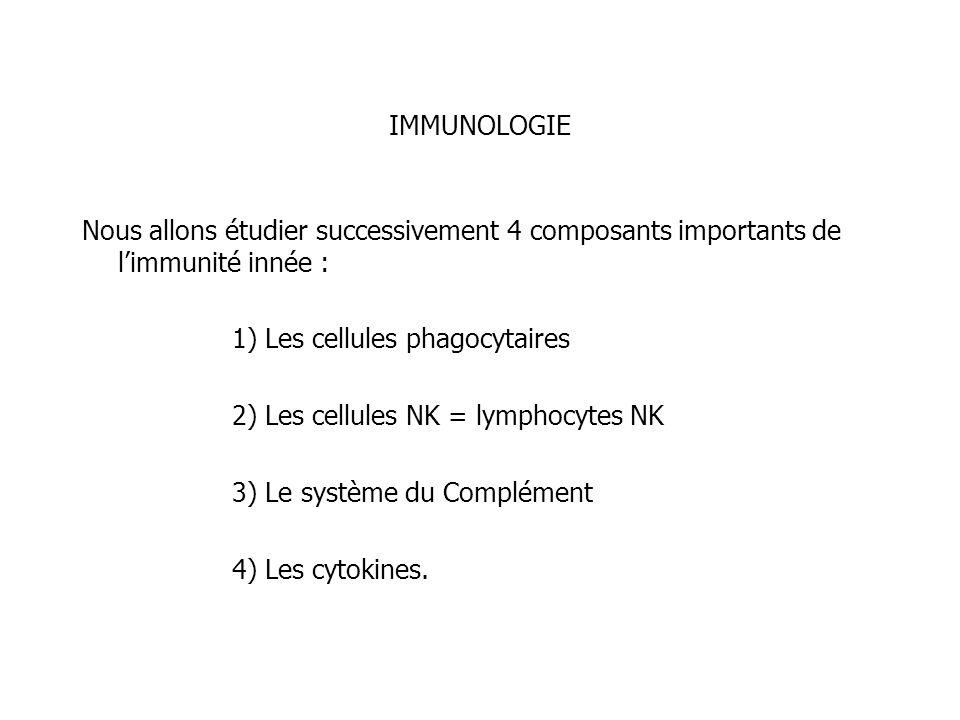 IMMUNOLOGIE Nous allons étudier successivement 4 composants importants de limmunité innée : 1) Les cellules phagocytaires 2) Les cellules NK = lymphoc