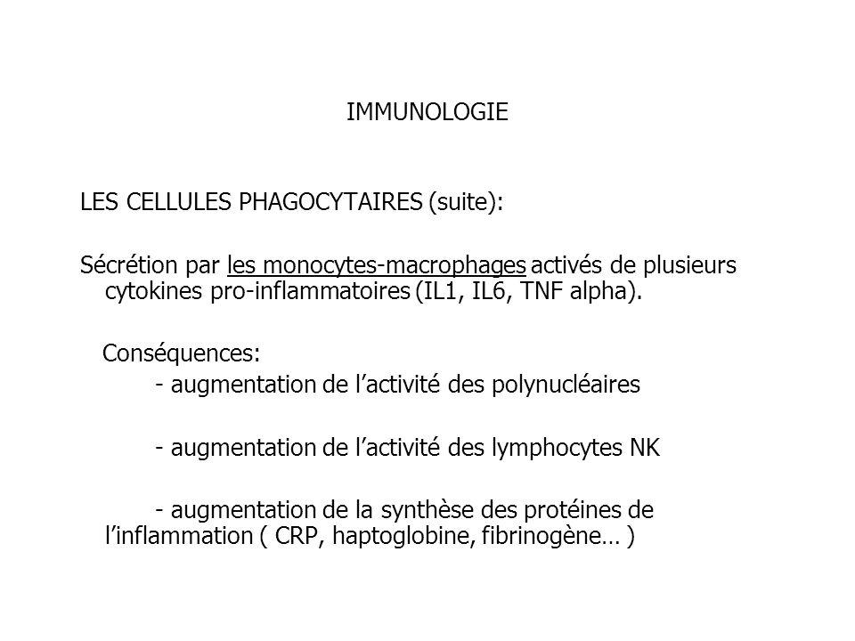 IMMUNOLOGIE LES CELLULES PHAGOCYTAIRES (suite): Sécrétion par les monocytes-macrophages activés de plusieurs cytokines pro-inflammatoires (IL1, IL6, T