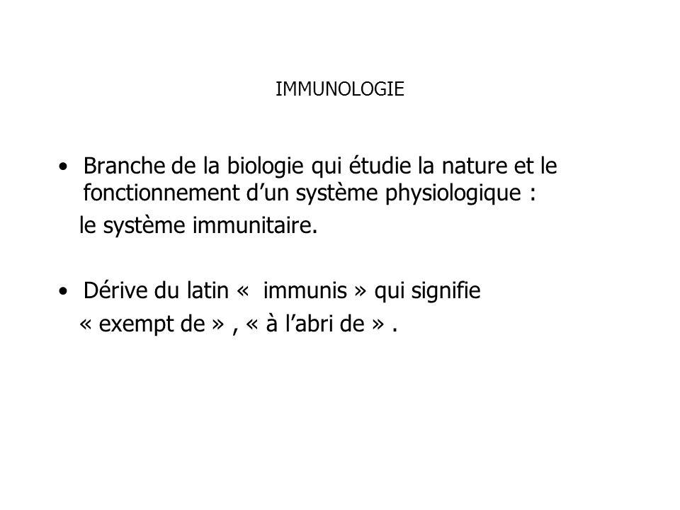 IMMUNOLOGIE Branche de la biologie qui étudie la nature et le fonctionnement dun système physiologique : le système immunitaire. Dérive du latin « imm