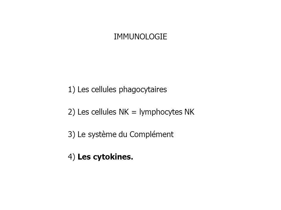IMMUNOLOGIE 1) Les cellules phagocytaires 2) Les cellules NK = lymphocytes NK 3) Le système du Complément 4) Les cytokines.