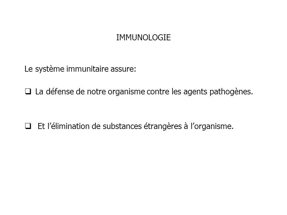 IMMUNOLOGIE Le système immunitaire assure: La défense de notre organisme contre les agents pathogènes. Et lélimination de substances étrangères à lorg