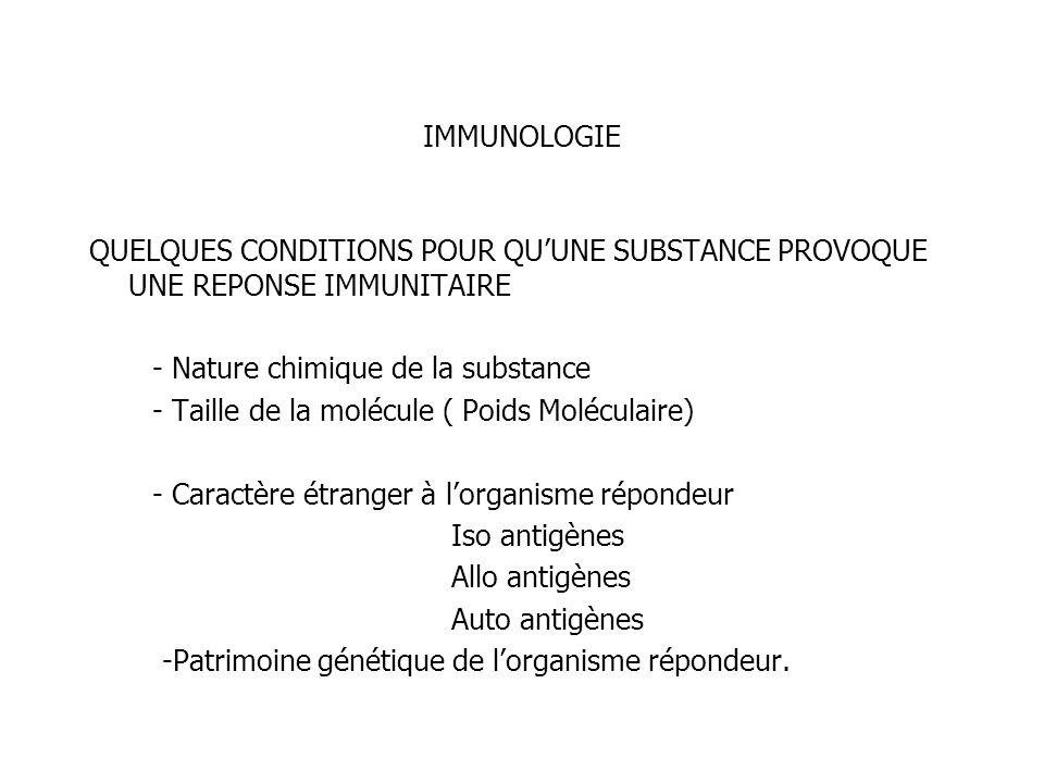 IMMUNOLOGIE QUELQUES CONDITIONS POUR QUUNE SUBSTANCE PROVOQUE UNE REPONSE IMMUNITAIRE - Nature chimique de la substance - Taille de la molécule ( Poid