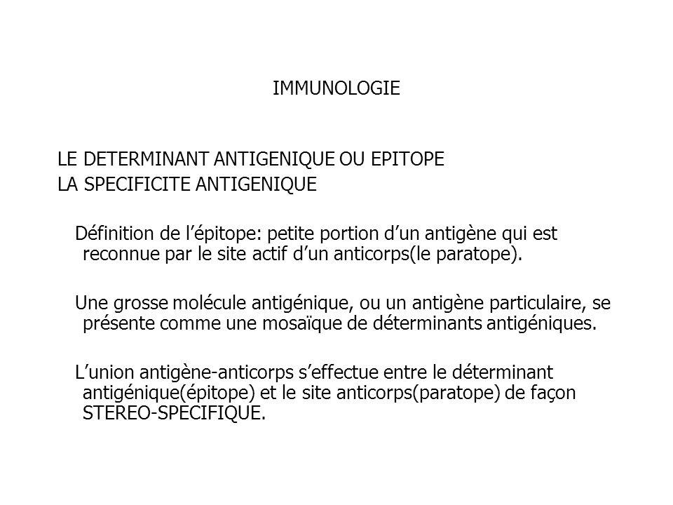 IMMUNOLOGIE LE DETERMINANT ANTIGENIQUE OU EPITOPE LA SPECIFICITE ANTIGENIQUE Définition de lépitope: petite portion dun antigène qui est reconnue par