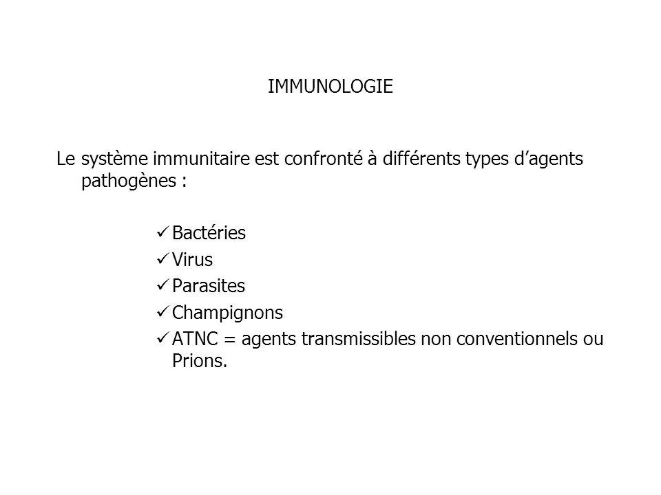 IMMUNOLOGIE Le système immunitaire est confronté à différents types dagents pathogènes : Bactéries Virus Parasites Champignons ATNC = agents transmiss