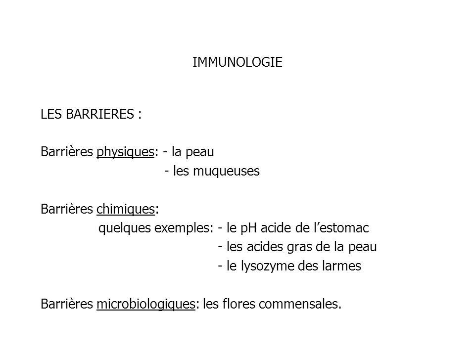 IMMUNOLOGIE LES BARRIERES : Barrières physiques: - la peau - les muqueuses Barrières chimiques: quelques exemples: - le pH acide de lestomac - les aci