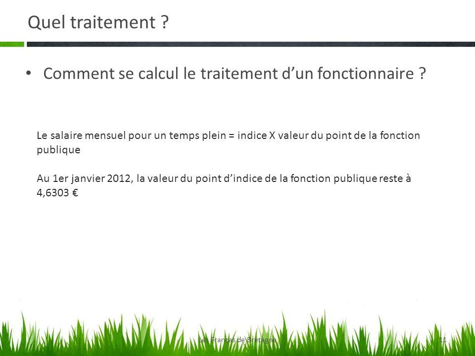 Quel traitement ? Comment se calcul le traitement dun fonctionnaire ? Les Francas de Bretagne11 Le salaire mensuel pour un temps plein = indice X vale