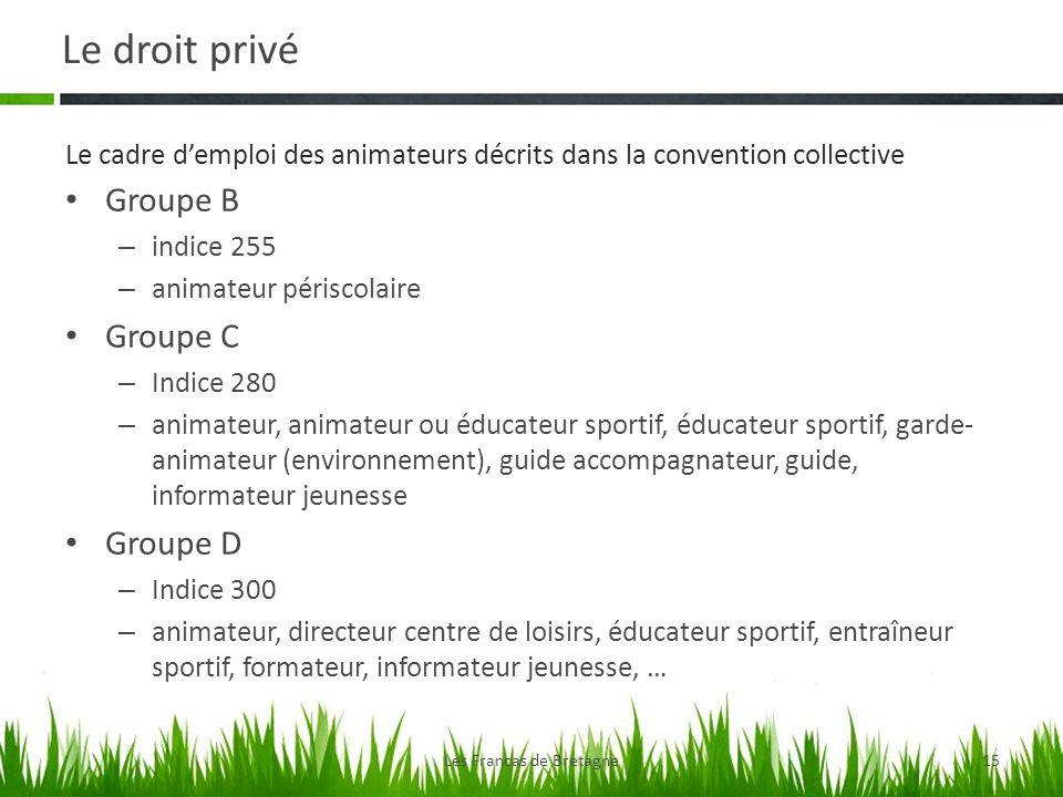 Le droit privé Les Francas de Bretagne15 Groupe B – indice 255 – animateur périscolaire Groupe C – Indice 280 – animateur, animateur ou éducateur spor
