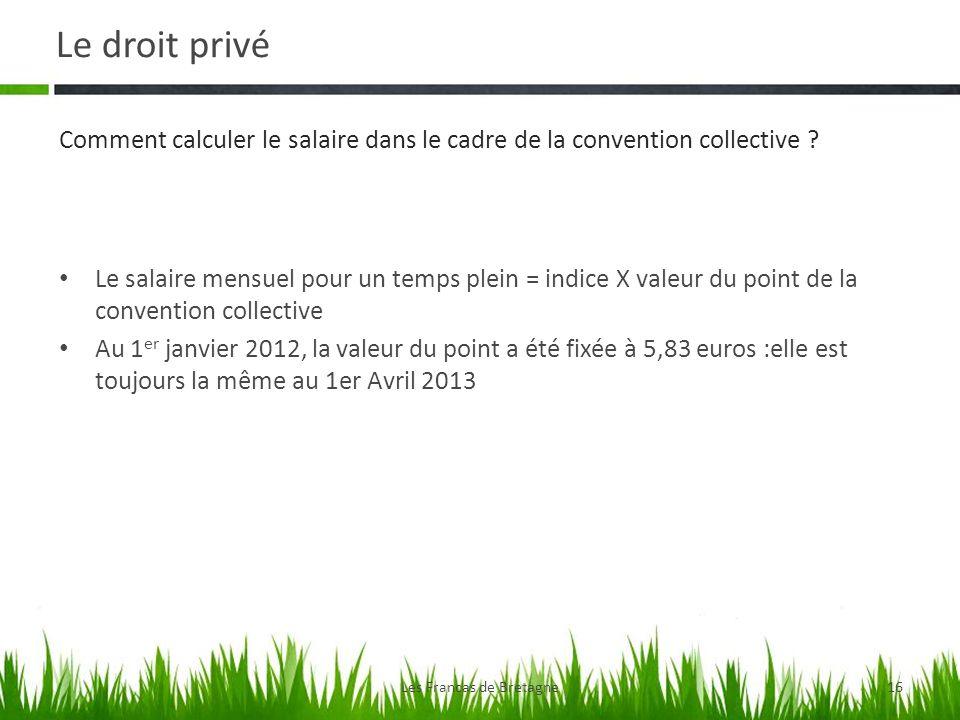 Le droit privé Les Francas de Bretagne16 Le salaire mensuel pour un temps plein = indice X valeur du point de la convention collective Au 1 er janvier 2012, la valeur du point a été fixée à 5,83 euros :elle est toujours la même au 1er Avril 2013 Comment calculer le salaire dans le cadre de la convention collective