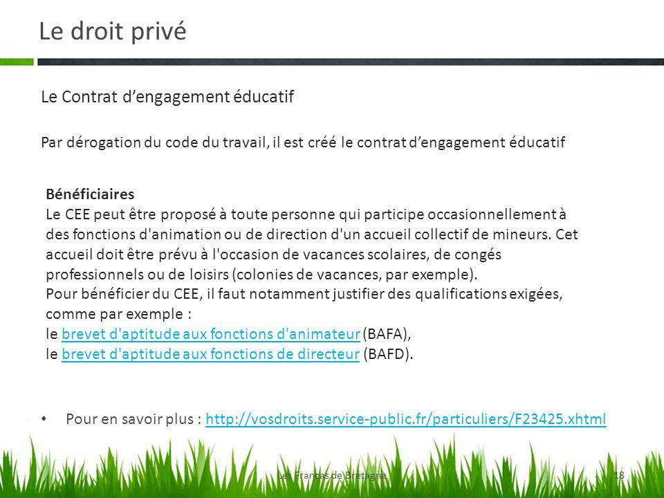 Le droit privé Les Francas de Bretagne18 Pour en savoir plus : http://vosdroits.service-public.fr/particuliers/F23425.xhtmlhttp://vosdroits.service-pu