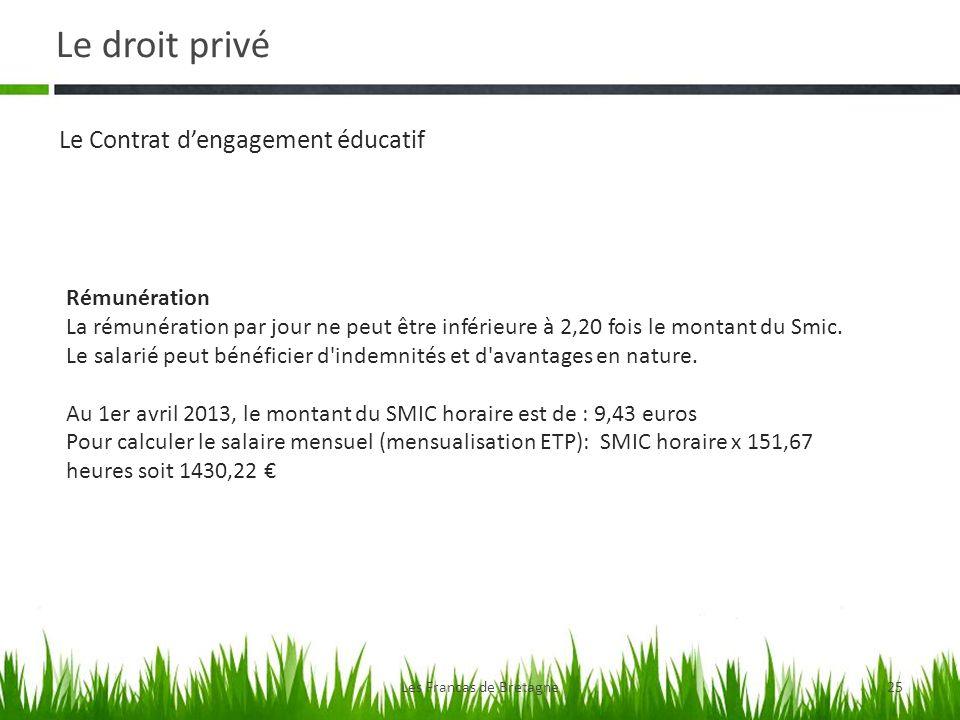 Le droit privé Les Francas de Bretagne25 Le Contrat dengagement éducatif Rémunération La rémunération par jour ne peut être inférieure à 2,20 fois le