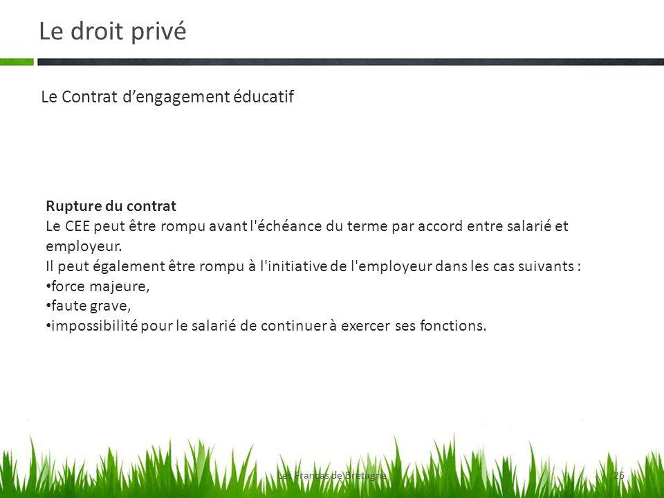 Le droit privé Les Francas de Bretagne26 Le Contrat dengagement éducatif Rupture du contrat Le CEE peut être rompu avant l'échéance du terme par accor
