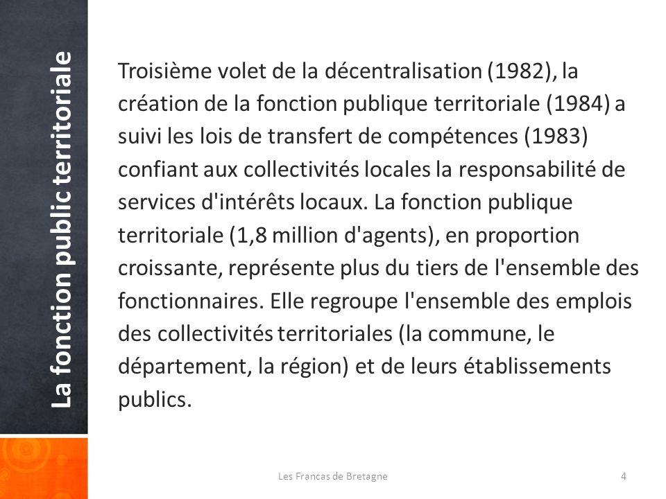 La fonction public territoriale Troisième volet de la décentralisation (1982), la création de la fonction publique territoriale (1984) a suivi les lois de transfert de compétences (1983) confiant aux collectivités locales la responsabilité de services d intérêts locaux.