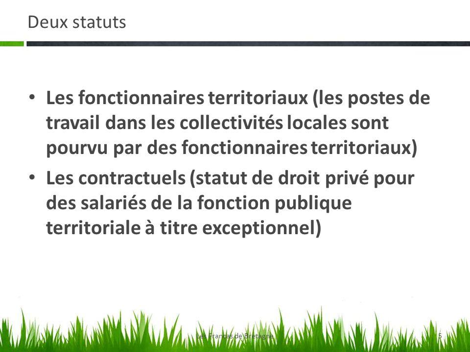 Deux statuts Les fonctionnaires territoriaux (les postes de travail dans les collectivités locales sont pourvu par des fonctionnaires territoriaux) Le