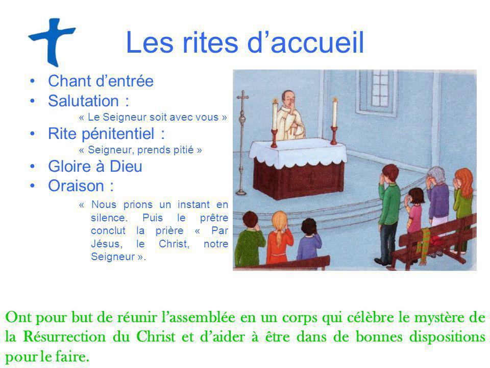 Les rites daccueil Chant dentrée Salutation : « Le Seigneur soit avec vous » Rite pénitentiel : « Seigneur, prends pitié » Gloire à Dieu Oraison : « N