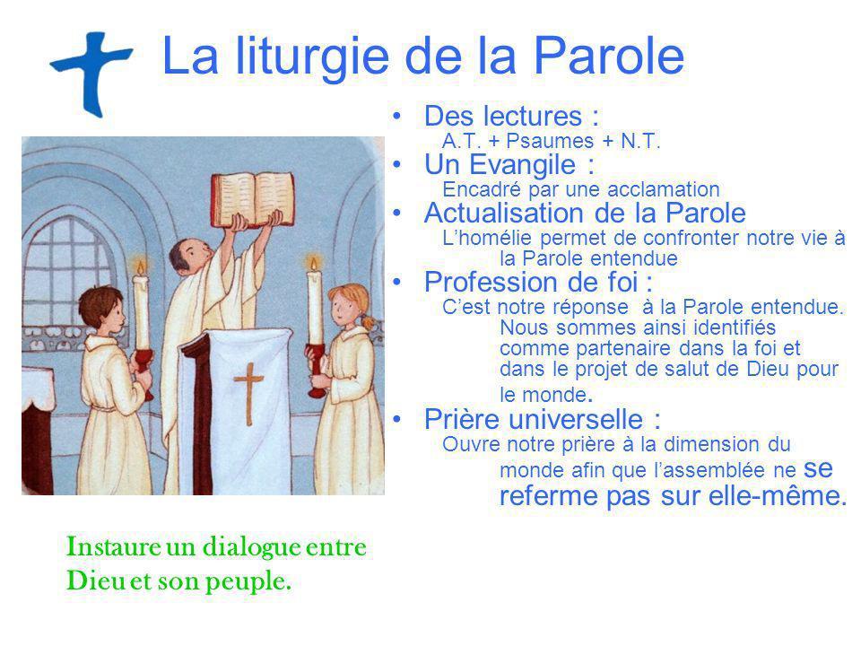 La liturgie de la Parole Des lectures : A.T. + Psaumes + N.T. Un Evangile : Encadré par une acclamation Actualisation de la Parole Lhomélie permet de