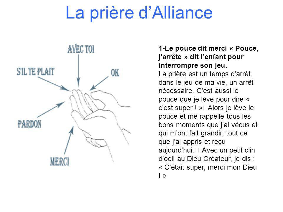 La prière dAlliance 1-Le pouce dit merci « Pouce, j'arrête » dit lenfant pour interrompre son jeu. La prière est un temps d'arrêt dans le jeu de ma vi