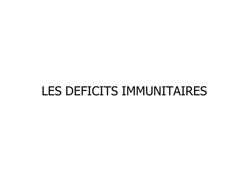 LES DEFICITS IMMUNITAIRES (D.I.) Tous les constituants du système immunitaire peuvent être concernés.