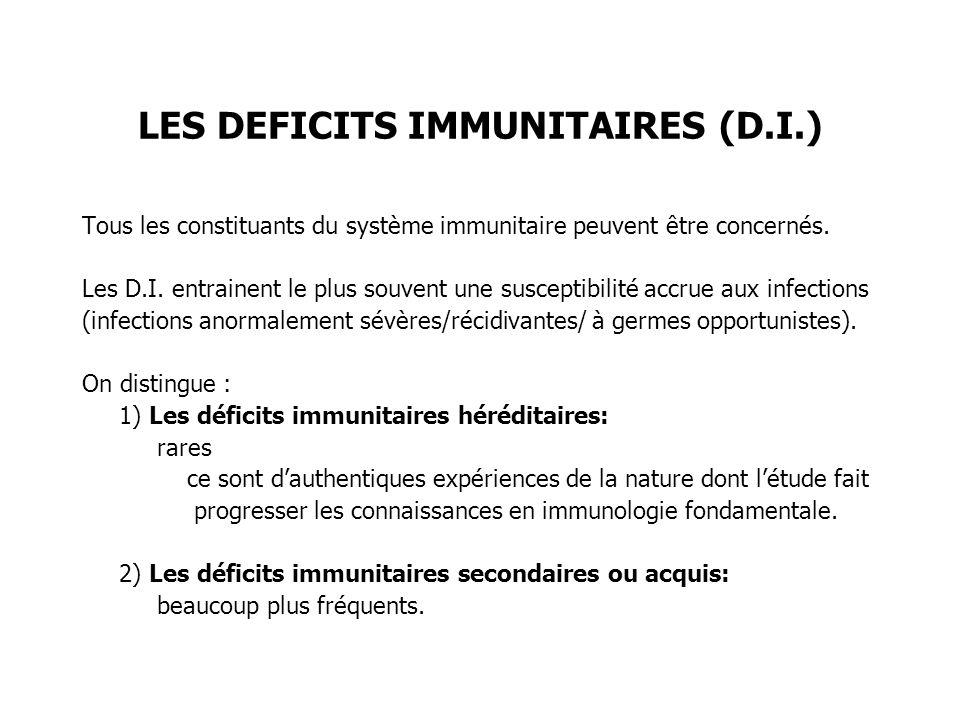 LES DEFICITS IMMUNITAIRES (D.I.) Tous les constituants du système immunitaire peuvent être concernés. Les D.I. entrainent le plus souvent une suscepti