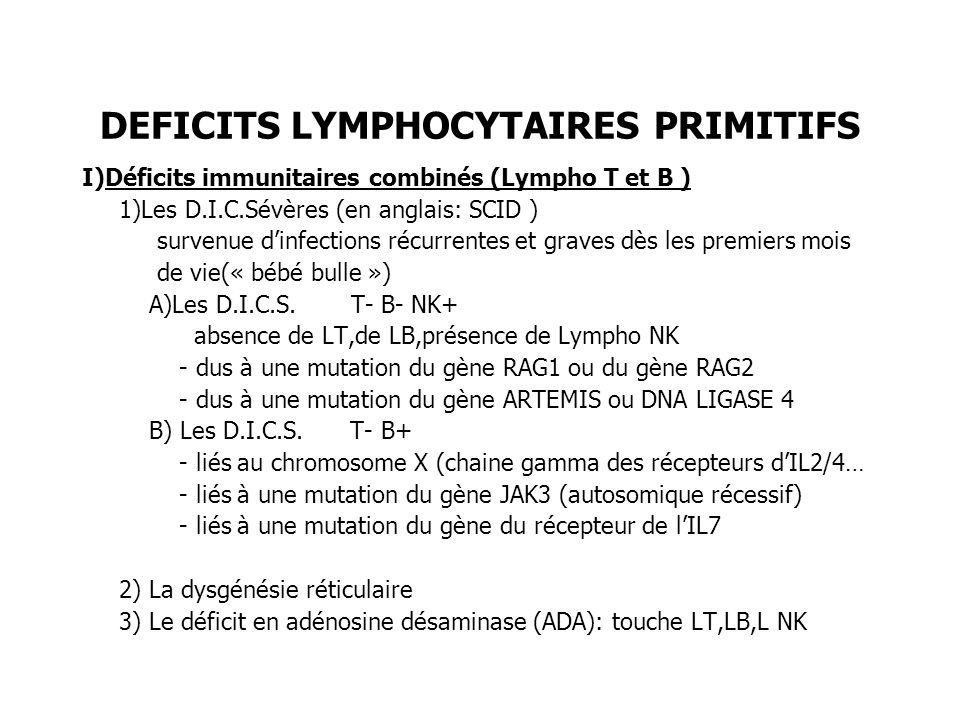 DEFICITS LYMPHOCYTAIRES PRIMITIFS I)Déficits immunitaires combinés (Lympho T et B ) 1)Les D.I.C.Sévères (en anglais: SCID ) survenue dinfections récur