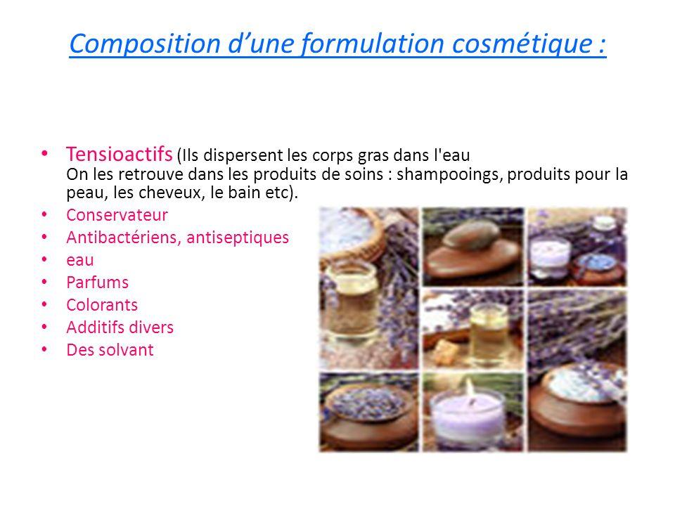 Composition dune formulation cosmétique : Tensioactifs (Ils dispersent les corps gras dans l'eau On les retrouve dans les produits de soins : shampooi