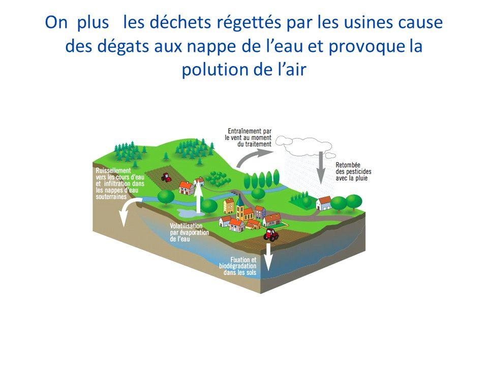 On plus les déchets régettés par les usines cause des dégats aux nappe de leau et provoque la polution de lair