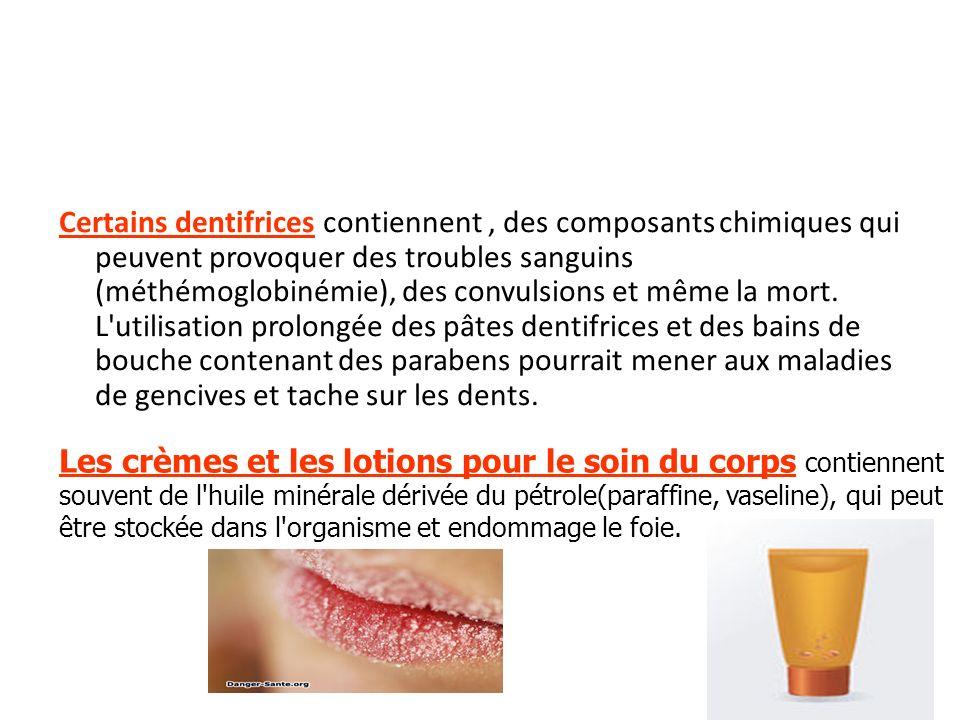 Certains dentifrices contiennent, des composants chimiques qui peuvent provoquer des troubles sanguins (méthémoglobinémie), des convulsions et même la