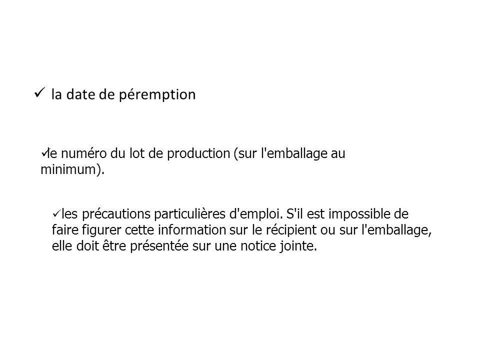 la date de péremption le numéro du lot de production (sur l'emballage au minimum). -les précautions les précautions particulières d'emploi. S'il est i