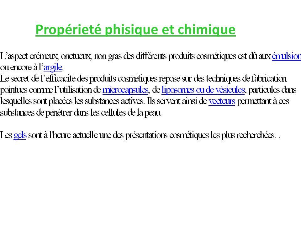 Propérieté phisique et chimique