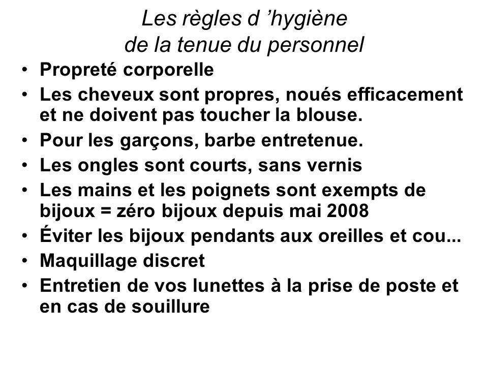 Les règles d hygiène de la tenue du personnel Propreté corporelle Les cheveux sont propres, noués efficacement et ne doivent pas toucher la blouse. Po