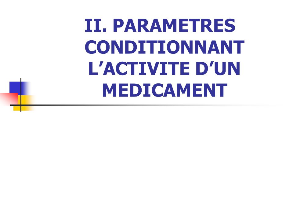 II. PARAMETRES CONDITIONNANT LACTIVITE DUN MEDICAMENT
