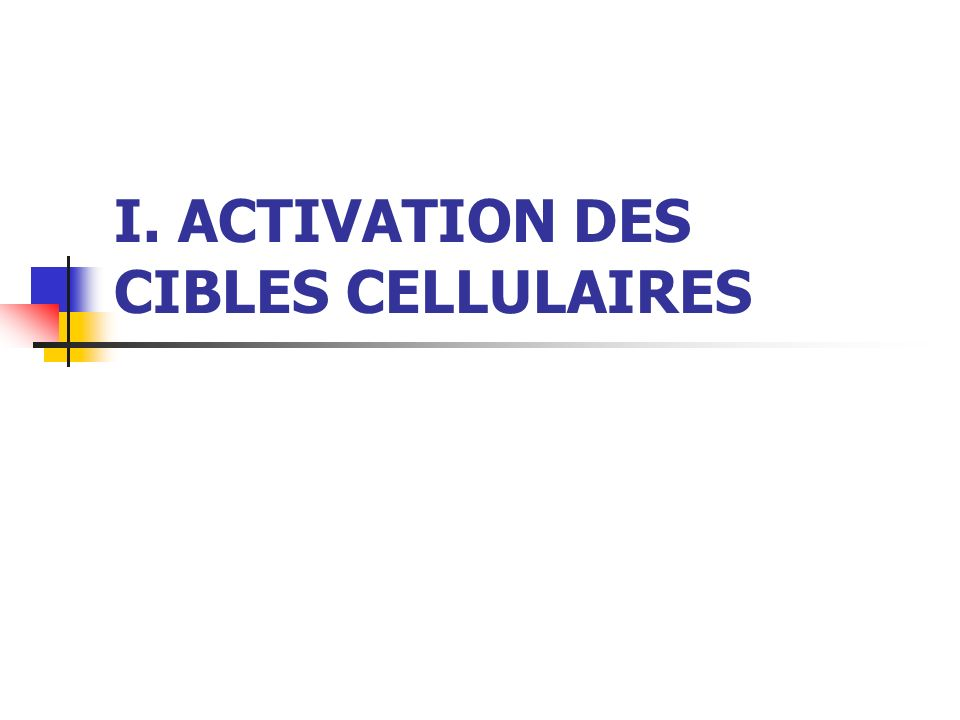 I. ACTIVATION DES CIBLES CELLULAIRES