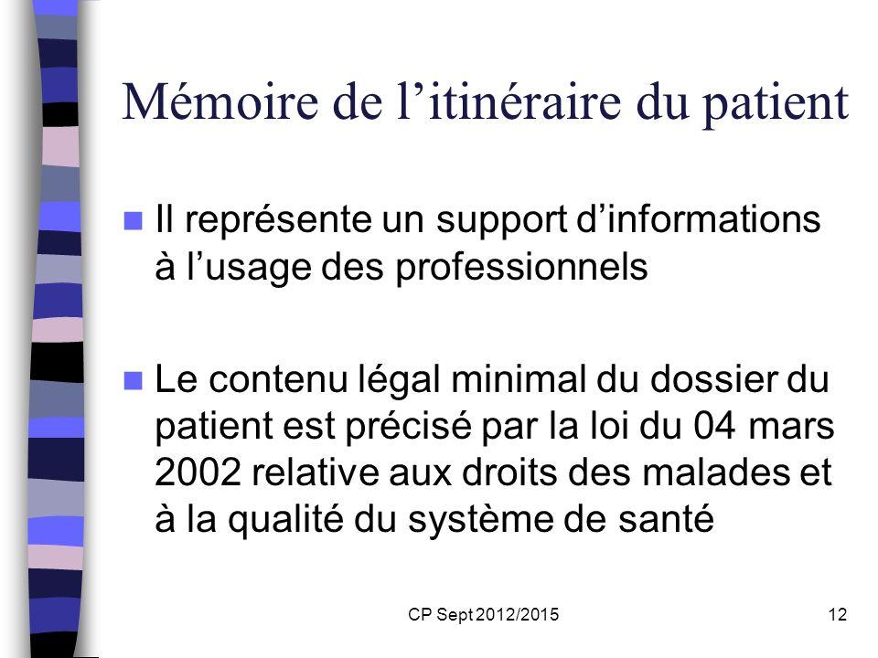 CP Sept 2012/201512 Mémoire de litinéraire du patient Il représente un support dinformations à lusage des professionnels Le contenu légal minimal du d