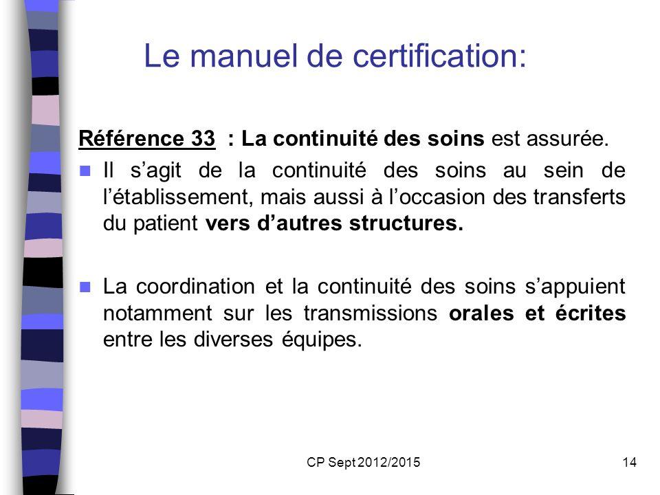 CP Sept 2012/201514 Le manuel de certification: Référence 33 : La continuité des soins est assurée. Il sagit de la continuité des soins au sein de lét