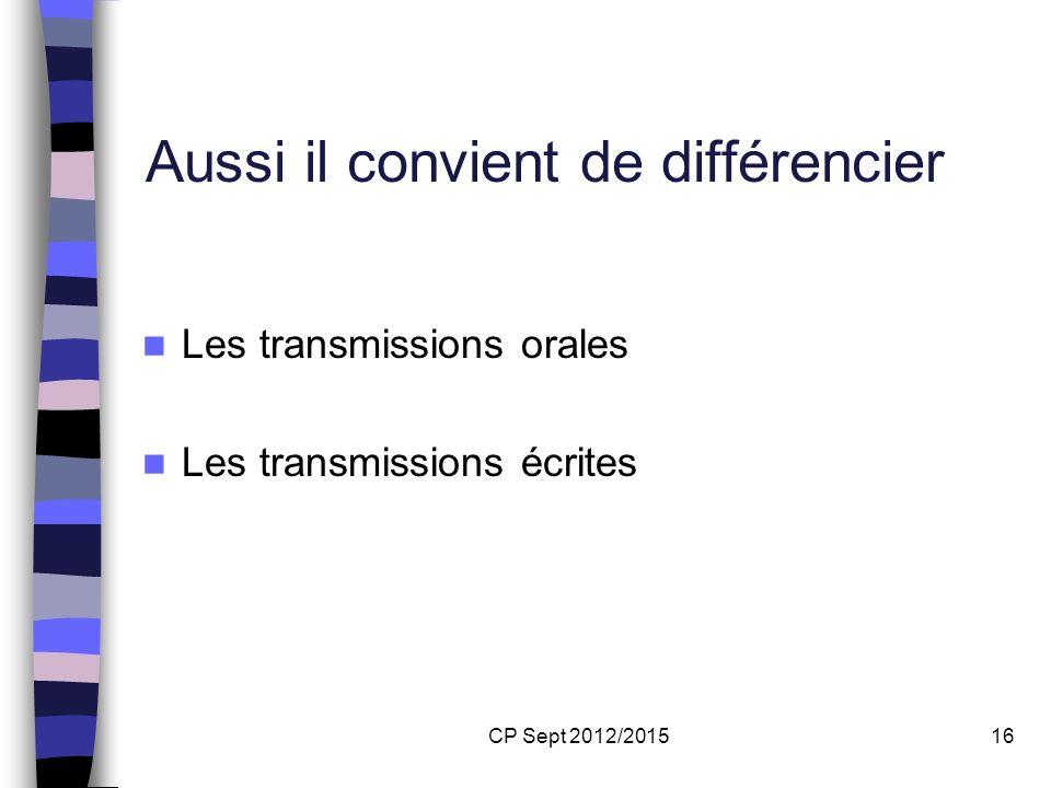 CP Sept 2012/201516 Aussi il convient de différencier Les transmissions orales Les transmissions écrites