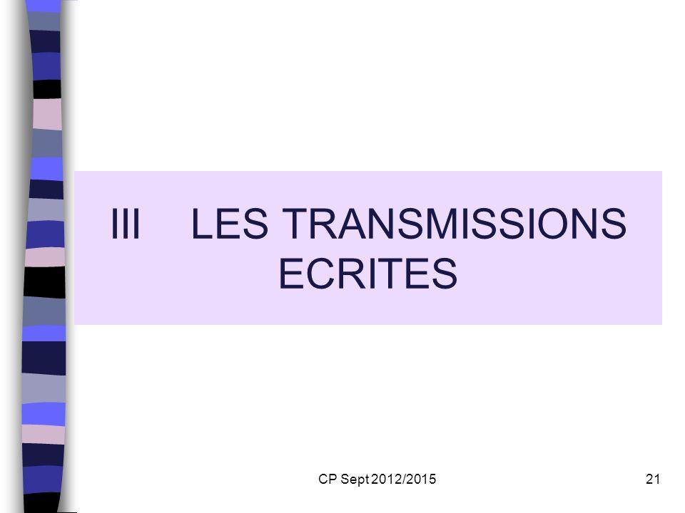 CP Sept 2012/201521 III LES TRANSMISSIONS ECRITES