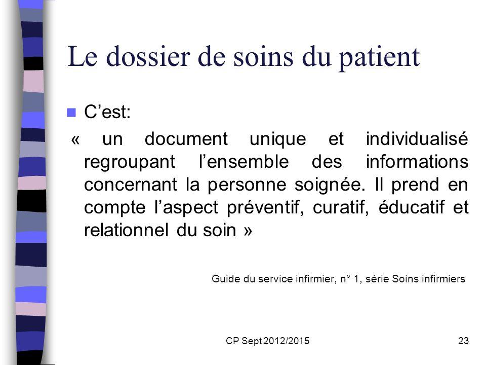 CP Sept 2012/201523 Le dossier de soins du patient Cest: « un document unique et individualisé regroupant lensemble des informations concernant la per