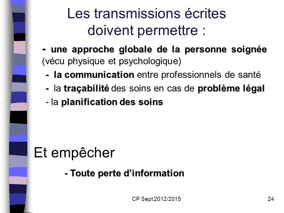 CP Sept 2012/201524 Les transmissions écrites doivent permettre : - une approche globale de la personne soignée - une approche globale de la personne