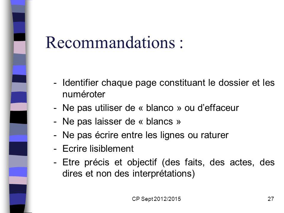 CP Sept 2012/201527 Recommandations : -Identifier chaque page constituant le dossier et les numéroter -Ne pas utiliser de « blanco » ou deffaceur -Ne