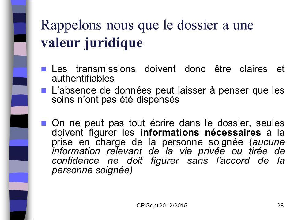 CP Sept 2012/201528 Rappelons nous que le dossier a une valeur juridique Les transmissions doivent donc être claires et authentifiables Labsence de do