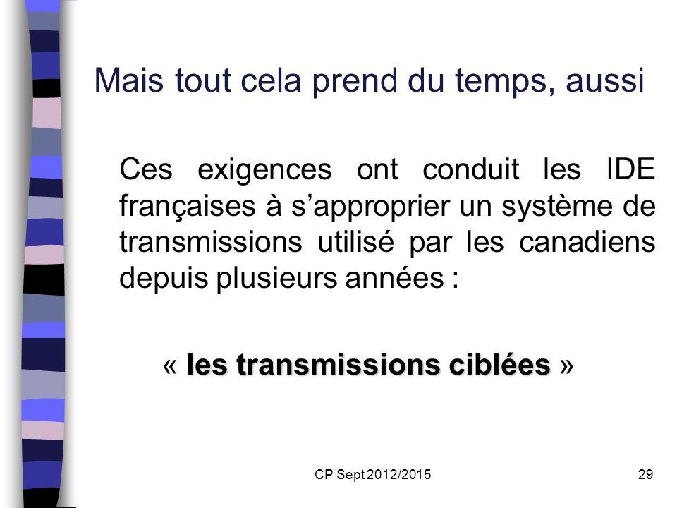 CP Sept 2012/201529 Mais tout cela prend du temps, aussi Ces exigences ont conduit les IDE françaises à sapproprier un système de transmissions utilis