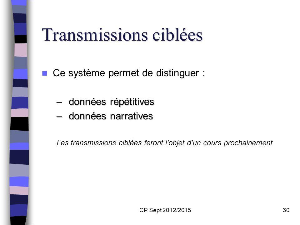 CP Sept 2012/201530 Transmissions ciblées Transmissions ciblées Ce système permet de distinguer : données répétitives – données répétitives – données
