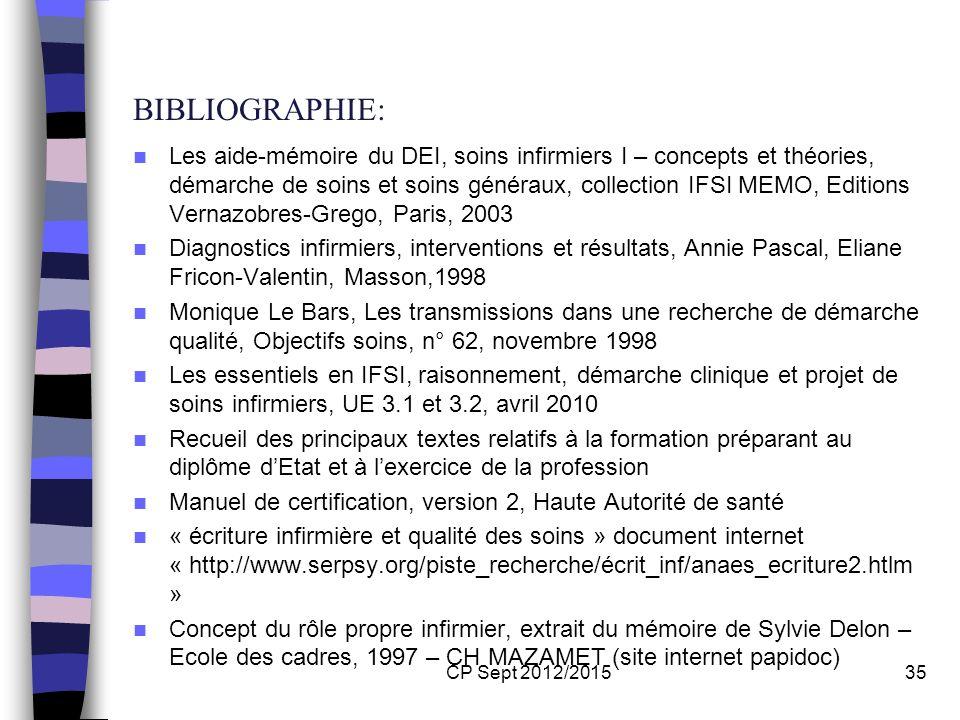 CP Sept 2012/201535 BIBLIOGRAPHIE: Les aide-mémoire du DEI, soins infirmiers I – concepts et théories, démarche de soins et soins généraux, collection