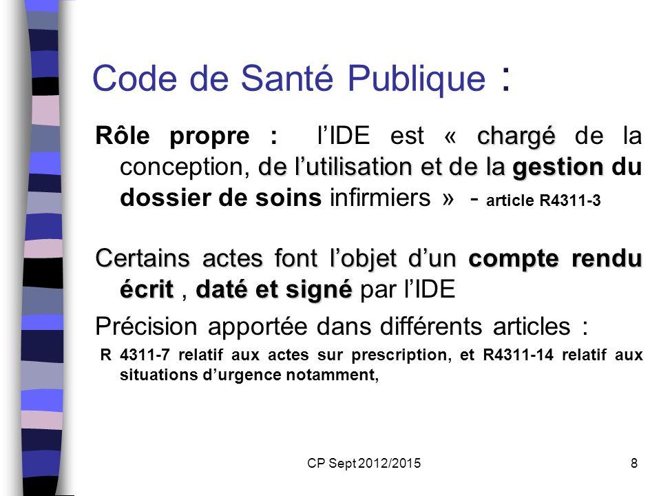 CP Sept 2012/20158 Code de Santé Publique : chargé de lutilisationet de la gestion Rôle propre : lIDE est « chargé de la conception, de lutilisation e