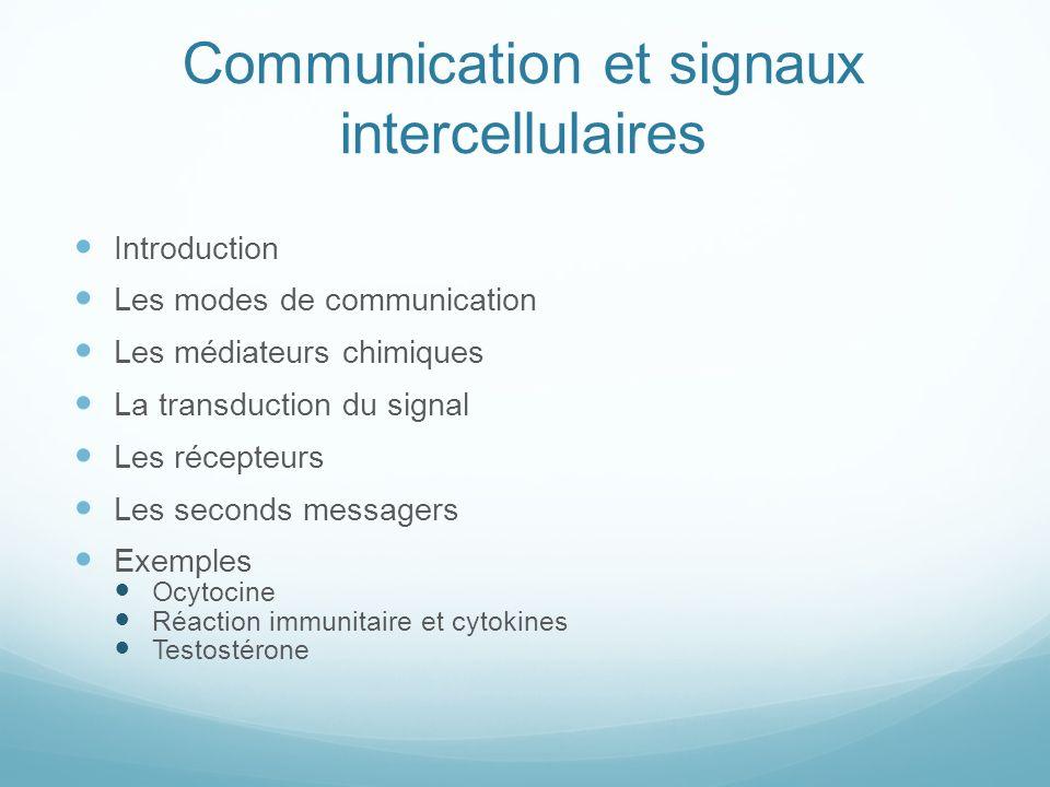 Communication et signaux intercellulaires Introduction Les modes de communication Les médiateurs chimiques La transduction du signal Les récepteurs Le