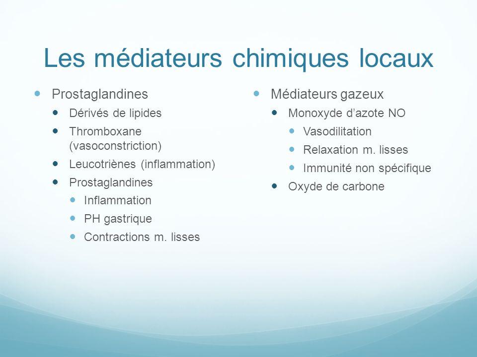 Les médiateurs chimiques locaux Prostaglandines Dérivés de lipides Thromboxane (vasoconstriction) Leucotriènes (inflammation) Prostaglandines Inflamma