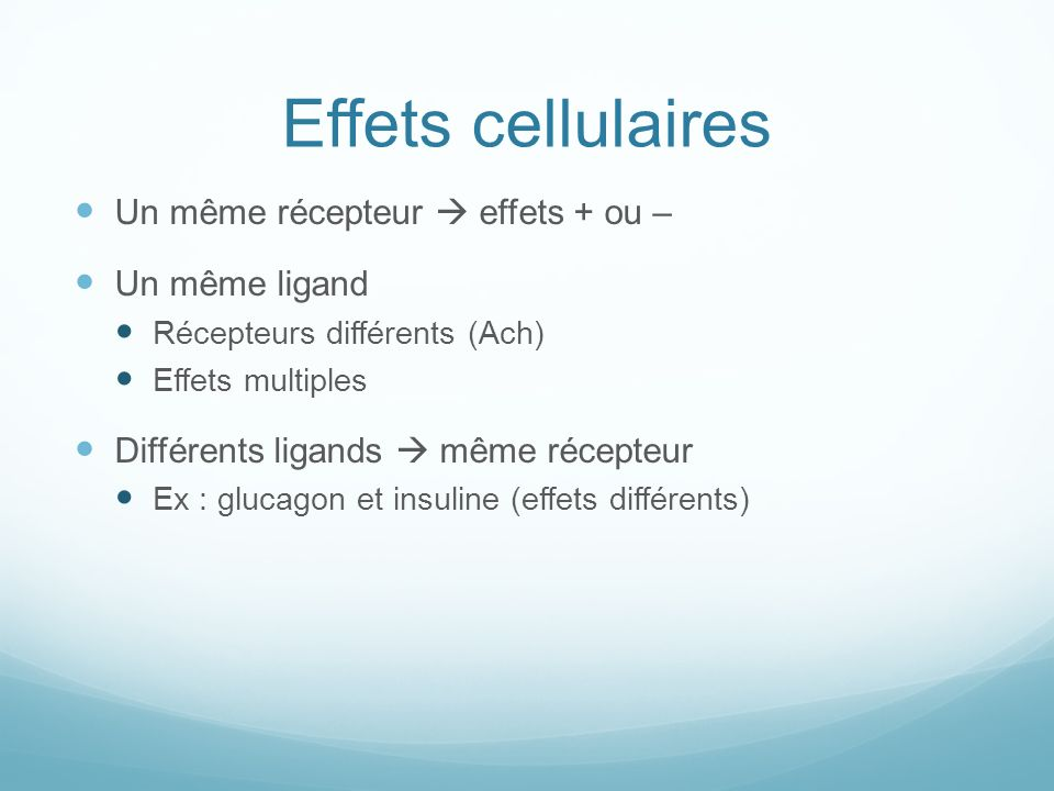 Effets cellulaires Un même récepteur effets + ou – Un même ligand Récepteurs différents (Ach) Effets multiples Différents ligands même récepteur Ex :
