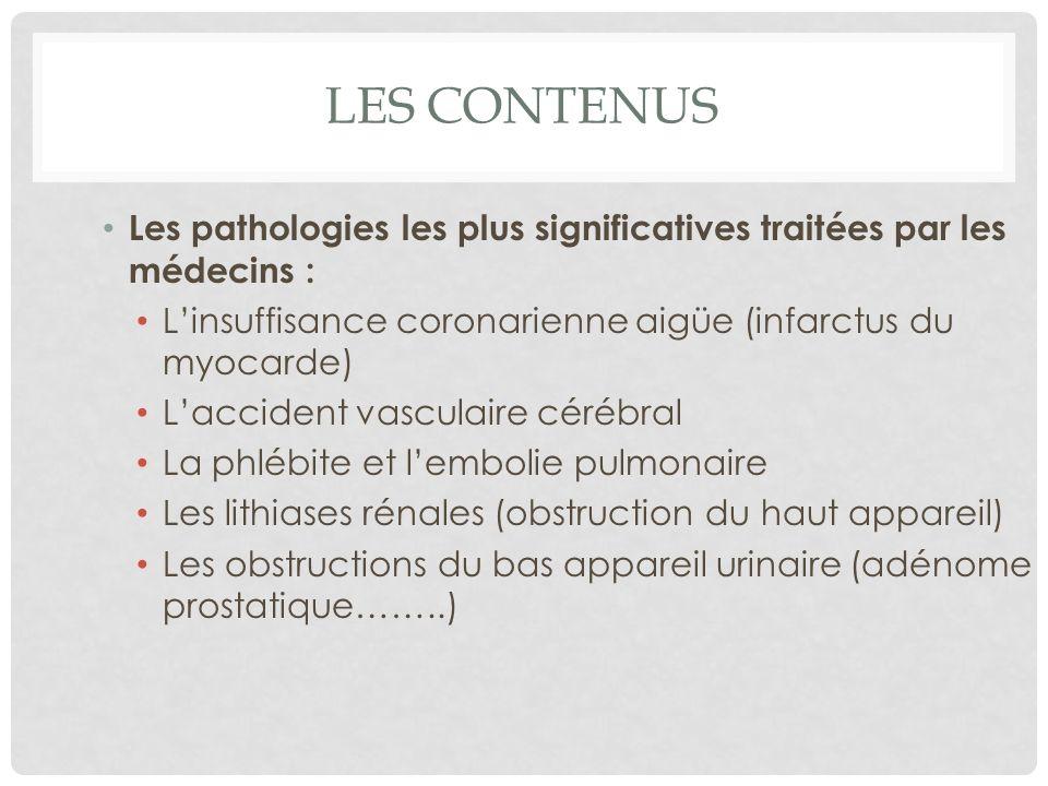 LES CONTENUS (SUITE) Les lithiases hépatiques Les occlusions intestinales La bronchite chronique obstructive Lasthme Lœdème aigu du poumon sera traité en S4 lors des défaillances organiques