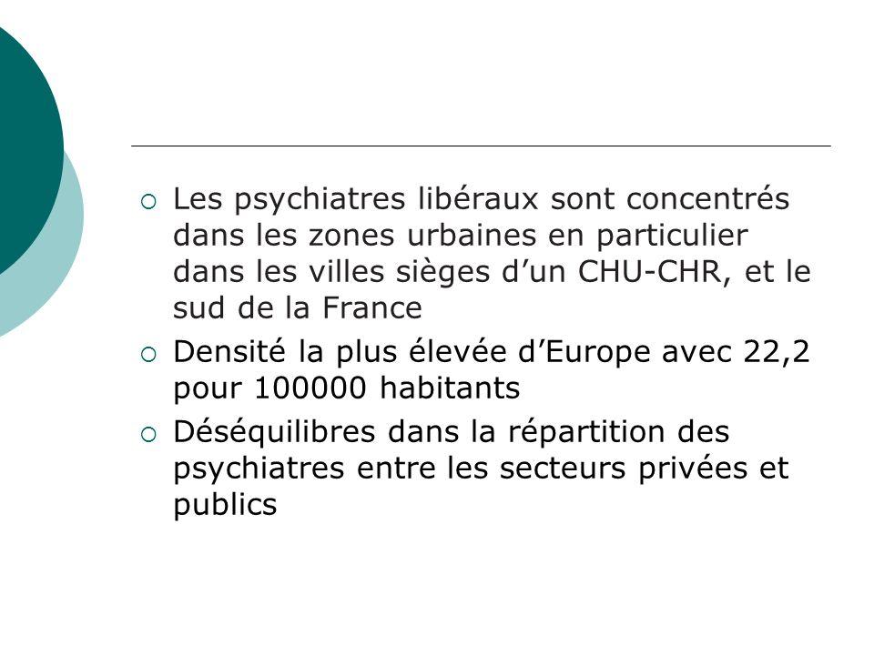 Les psychiatres libéraux sont concentrés dans les zones urbaines en particulier dans les villes sièges dun CHU-CHR, et le sud de la France Densité la