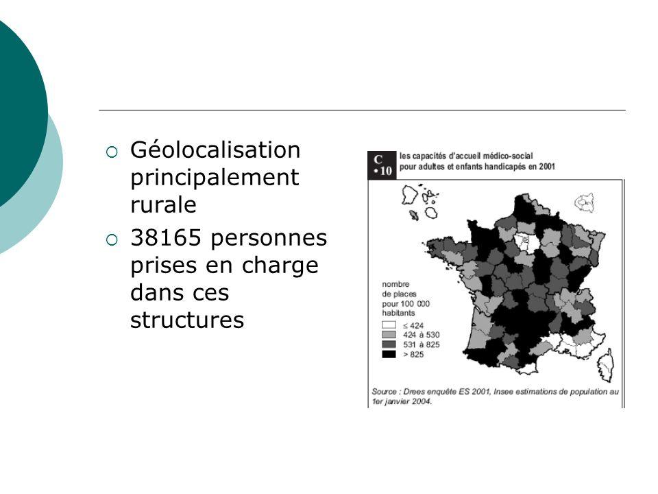 Géolocalisation principalement rurale 38165 personnes prises en charge dans ces structures